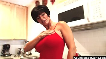 Sexy Mom With Huge Tits Rubs Her Clit In The Kitchen