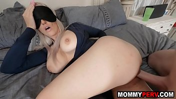 Blindfolded mom tricked to fuck her own step s.