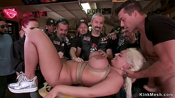 In biker shop busty blonde anal fucking