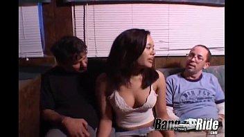 Asian girl fucking 2 guys in a van