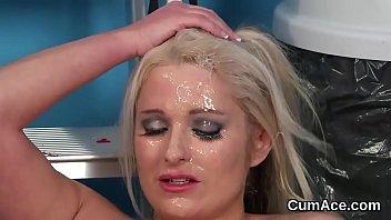 Wacky model gets jizz load on her face swallowing all the semen