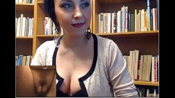 sexy brunette masturbates in library-more at freshslutcams.com