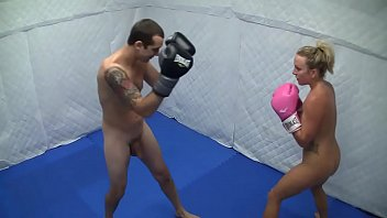 Female boxing fetish - Dre hazel defeats guy in competitive nude boxing match