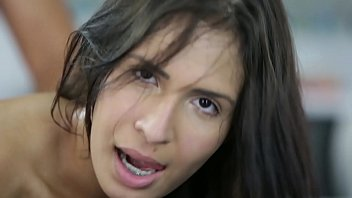 Cum in the mouth of the big ass brunette