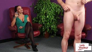 Alluring milf voyeur instructing tugging guy