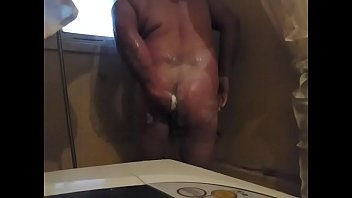 Taking a shower and playing with my ass for my chubby friend