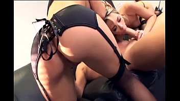 Husband looking at porn at office Threeway with secretaries in sexy black lingerie