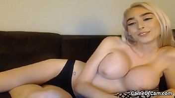 Perfect Blonde Big Fake Boobs Silicon Blonde is toying herself on cam