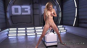 Blonde newcomer fucks machine standing