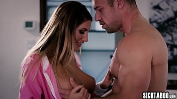 Perverted babe August Ames seduced big cock guy and she swallowed dick