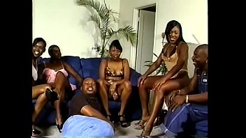 Four bored black chicks are making their three friends to screw their hot wet cunts