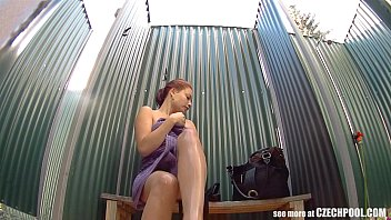 Inground pool sand bottomed pool - Busty girl wearing swimsuit in pool cabin