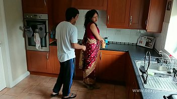 Red saree Bhabhi caught watching porn blackmailed and forced to fuck by Devar dirty hindi audio desi chudai leaked scandal taboo sextape bollywood POV Indian