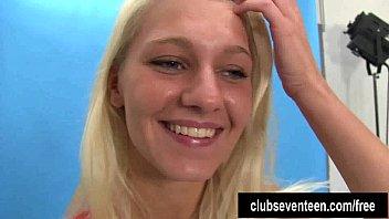 Busty blonde teen Sara posing