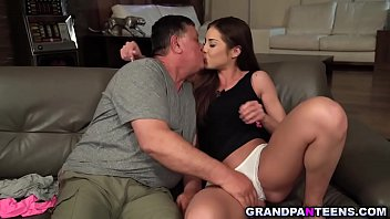 Sweet 18yo Akira May takes extra good care of her grandpa Eddie.She makes sure that she takes care of his cock too and letting him fuck her pussy.