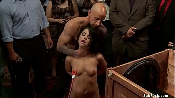 Slave in wooden box public disgraced