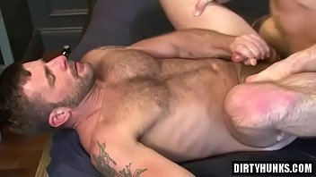 Muscle gay flip flop with facial