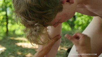 Camp Site Outdoor Bareback Threesome Spit Roast
