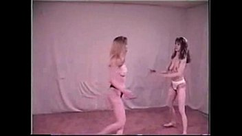 Blonde vs brunette topless catfight 01