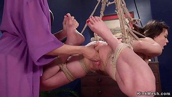 Mistress anal fucks lesbian in chains