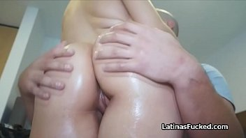 Perfect oily Latina booty bouncing on cock