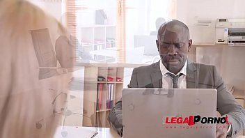 Petite secretary Veronica Leal goes for his big black cock in the office GP745 thumbnail