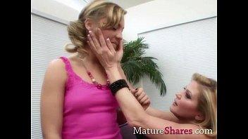 Mature blonde Amali seduces teen