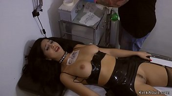 Busty babe banged in crowded tattoo shop