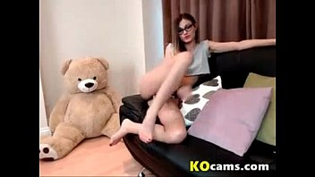 Petite nerd student girl chating with her bf