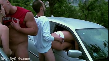 Fuck dog in public - Facial cum on a girl through a car window in public sex gang bang dogging orgy