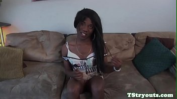 Black tranny tugs on her cock at casting
