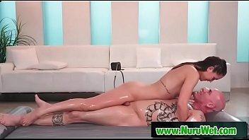 Masseuse Alina Lopez slides her perfect body covered in nuru gel over Derrick Pierce