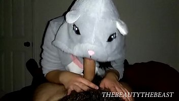 Cute Horny Mouse Costume Blowjob