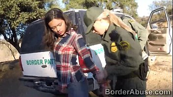 Public 3some Young latina crossed the border to make 3some with officers
