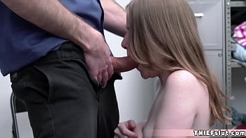 Teen with pale white porcelain skin must pay with pussy