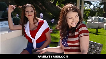 Hot Big Tits MILF Ariella Ferrera &amp_ Her Daughter Jennifer Jacobs Have Threesome With New Step Son In Front Of Husband During 4th Of July Barbecue