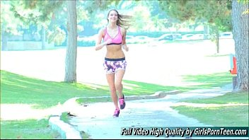Girl jogging then having sex