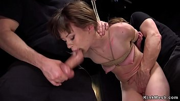 Brunette trainee anal banged balls deep bdsm