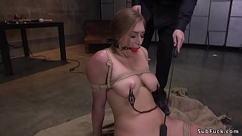 Busty slave made to squirt and anal fuck