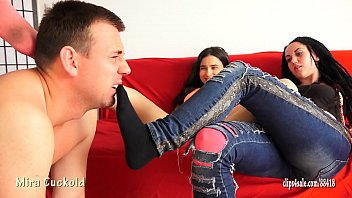 Foot job socks Mira cuckold and her girlfriend - foot slave training