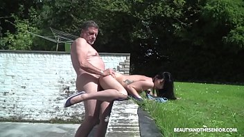 Babe's First Time with a Senior Citizen Outside