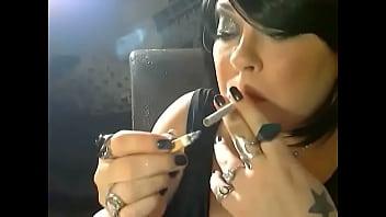 BBW Mistress Tina Snua Chain Smoking 3 Marlboro Cigarettes With Nose & Cone Exhales & Smoke Rings