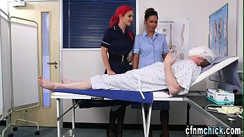 Uniformed brit nurses tug
