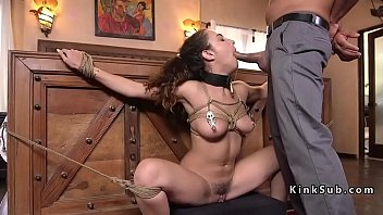 Hogtied college brat gets anal fucked