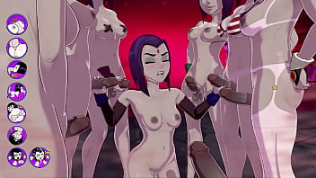 Teen titans end of the world Raven gets a terrific bukkake, fucks and cums with a group of futas - sexgame