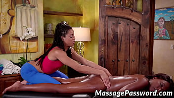 Oiled up ebony beauties scissoring after sex massage