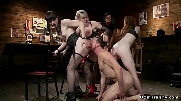 Tranny slags - Interracial shemale group bang fed agent