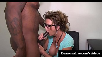 Mature busty blonde cock sucker - Busty texas cougar deauxma sucks big black cock for tax loan