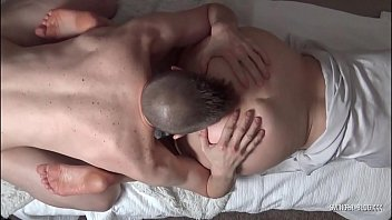 Blonde housewife blowing hubby while being fucked by a friend