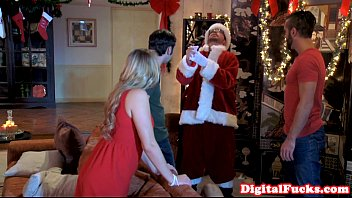 Santa facializing beautiful babe after bj